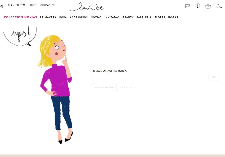 Ejemplo de usabilidad web 'Lucía Be'